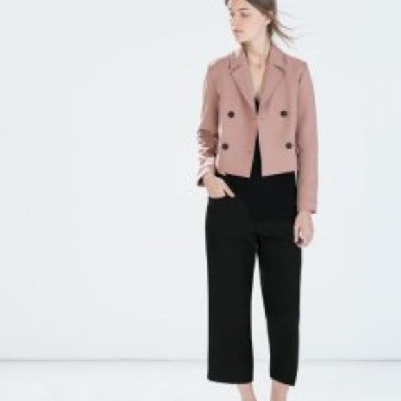 9ae0bed6a436 Zara Jackets & Coats | New Short Double Breasted Blazer In Blush S ...
